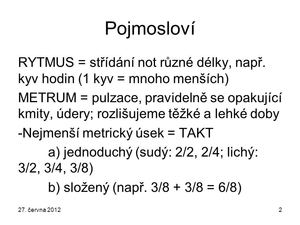 Pojmosloví RYTMUS = střídání not různé délky, např. kyv hodin (1 kyv = mnoho menších)