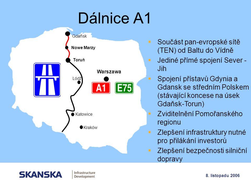 Dálnice A1 Součást pan-evropské sítě (TEN) od Baltu do Vídně