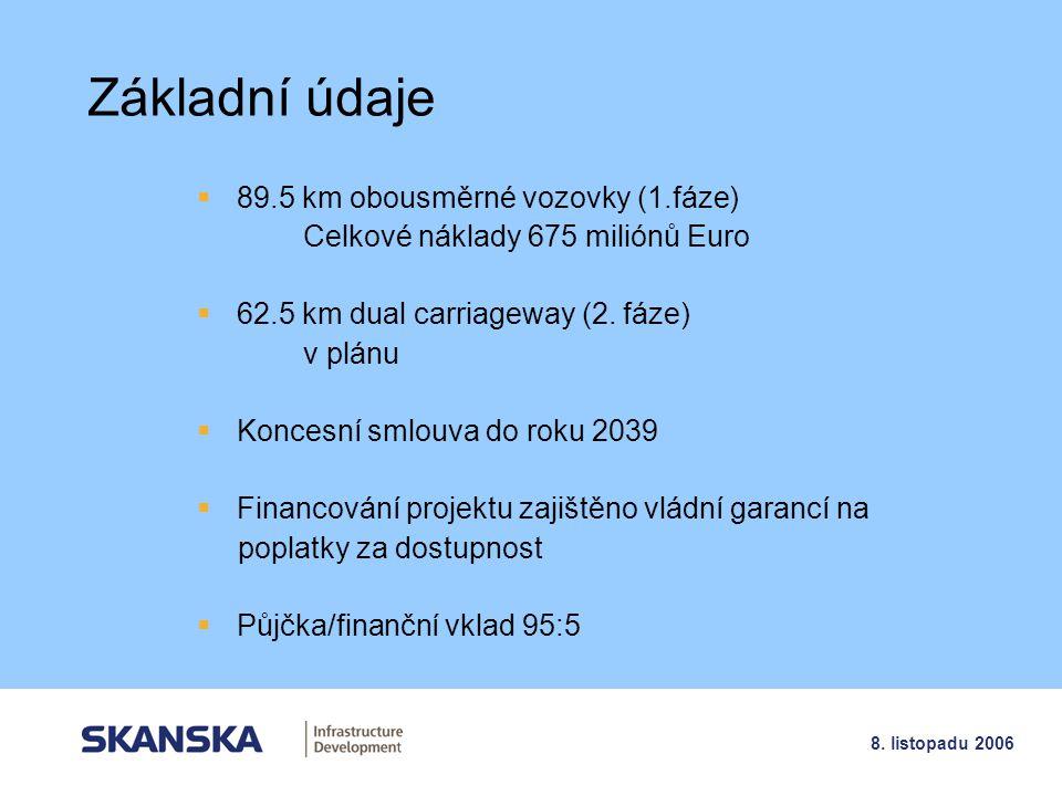 Základní údaje 89.5 km obousměrné vozovky (1.fáze)