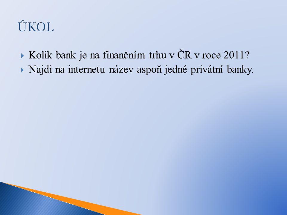 ÚKOL Kolik bank je na finančním trhu v ČR v roce 2011
