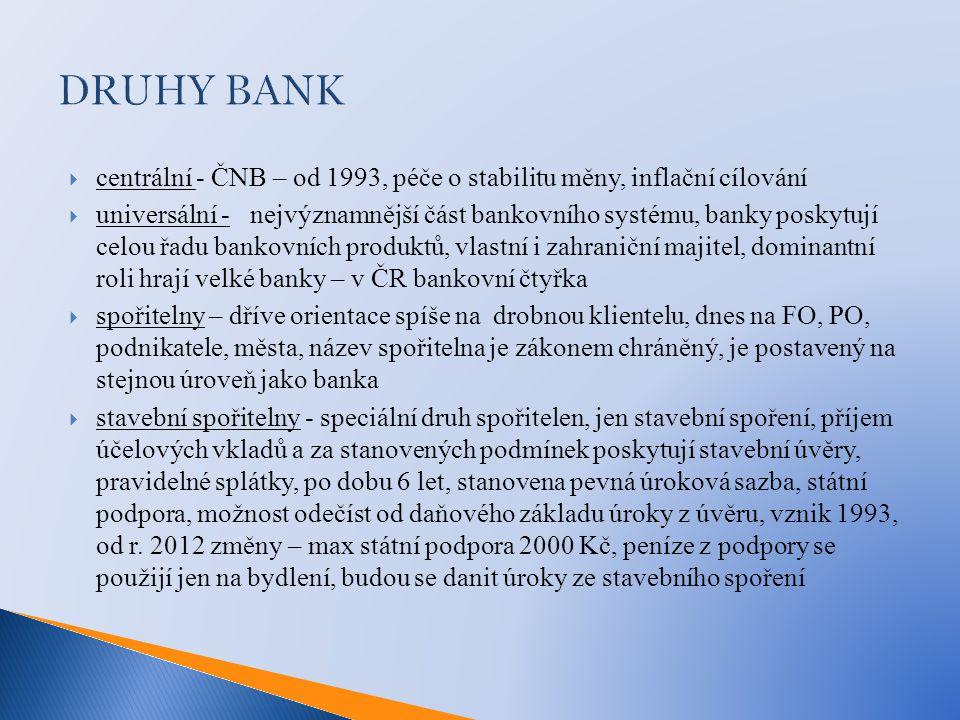 DRUHY BANK centrální - ČNB – od 1993, péče o stabilitu měny, inflační cílování.