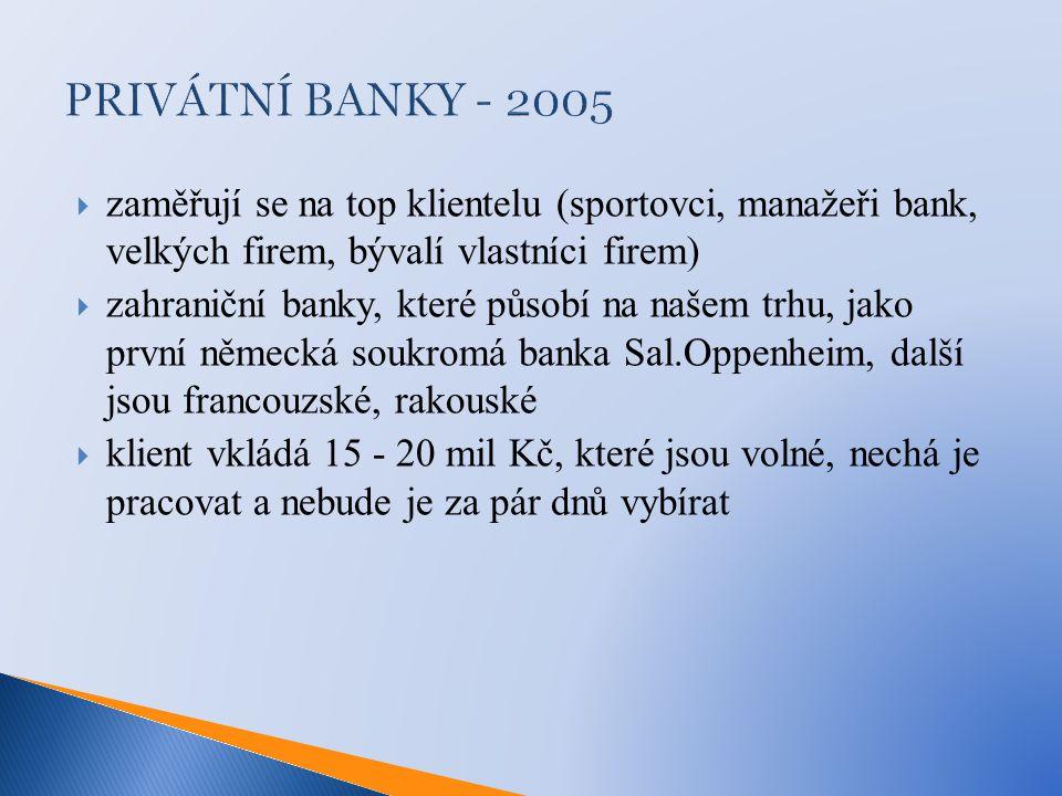 PRIVÁTNÍ BANKY - 2005 zaměřují se na top klientelu (sportovci, manažeři bank, velkých firem, bývalí vlastníci firem)