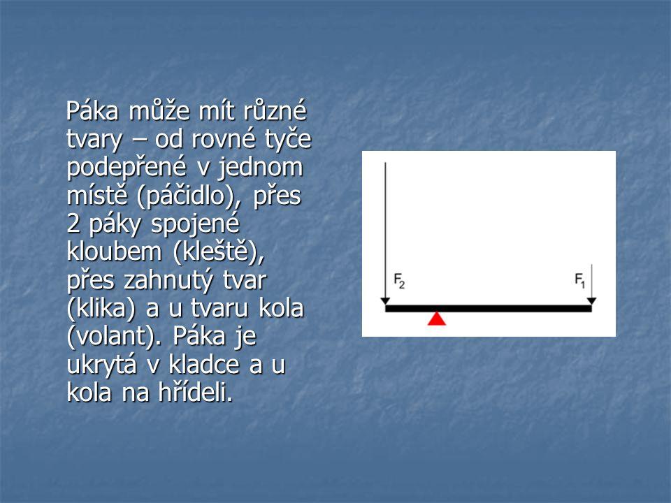 Páka může mít různé tvary – od rovné tyče podepřené v jednom místě (páčidlo), přes 2 páky spojené kloubem (kleště), přes zahnutý tvar (klika) a u tvaru kola (volant).