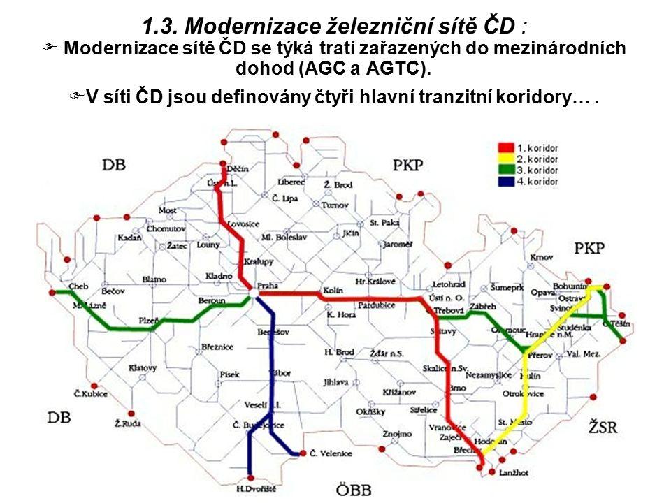 V síti ČD jsou definovány čtyři hlavní tranzitní koridory… .