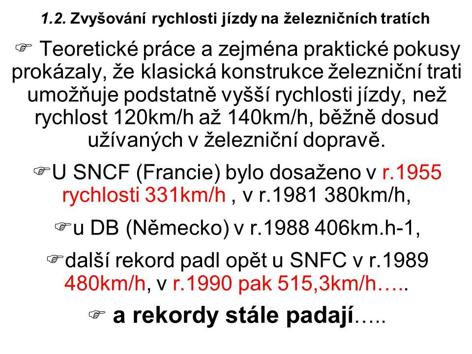 1.2. Zvyšování rychlosti jízdy na železničních tratích