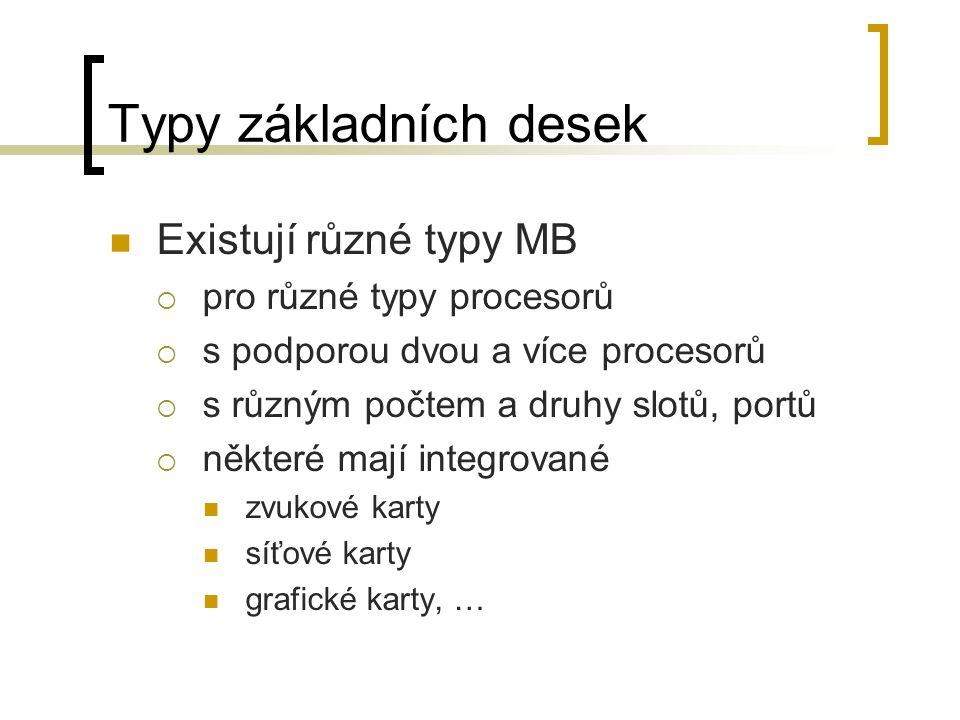 Typy základních desek Existují různé typy MB pro různé typy procesorů