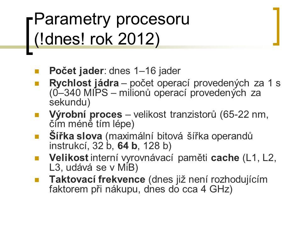 Parametry procesoru (!dnes! rok 2012)