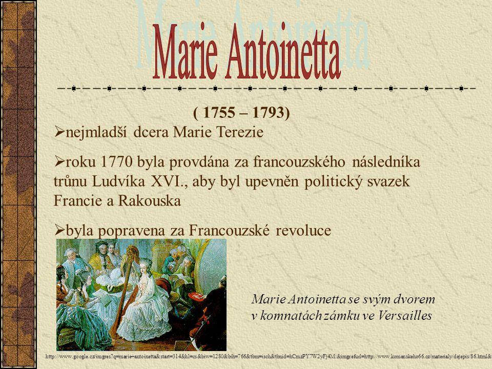Marie Antoinetta ( 1755 – 1793) nejmladší dcera Marie Terezie