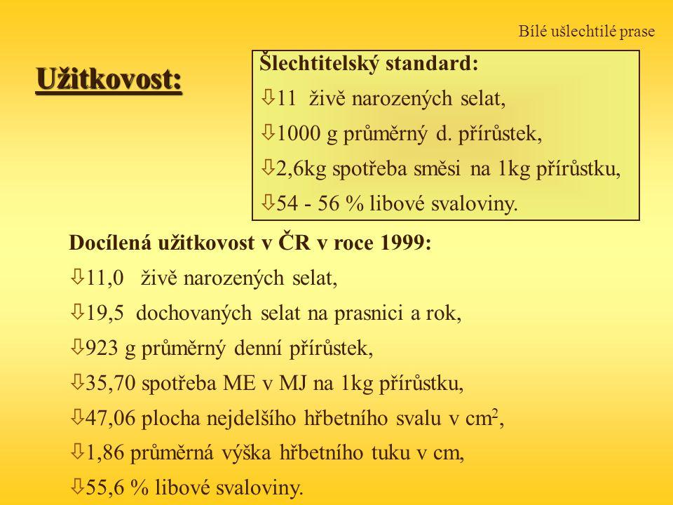 Užitkovost: Šlechtitelský standard: 11 živě narozených selat,