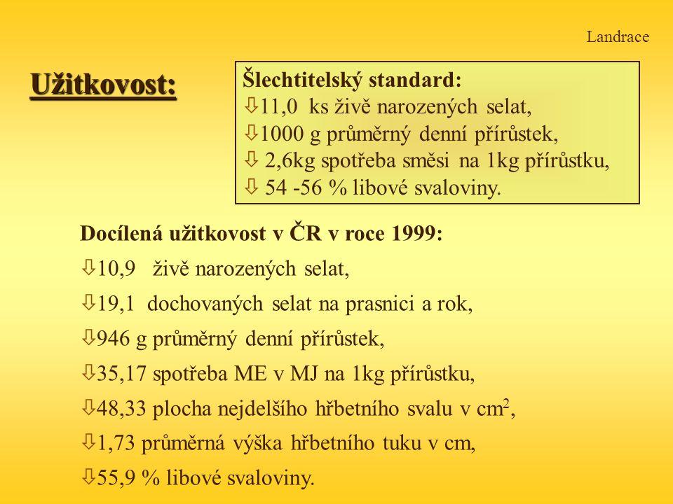 Užitkovost: Šlechtitelský standard: 11,0 ks živě narozených selat,