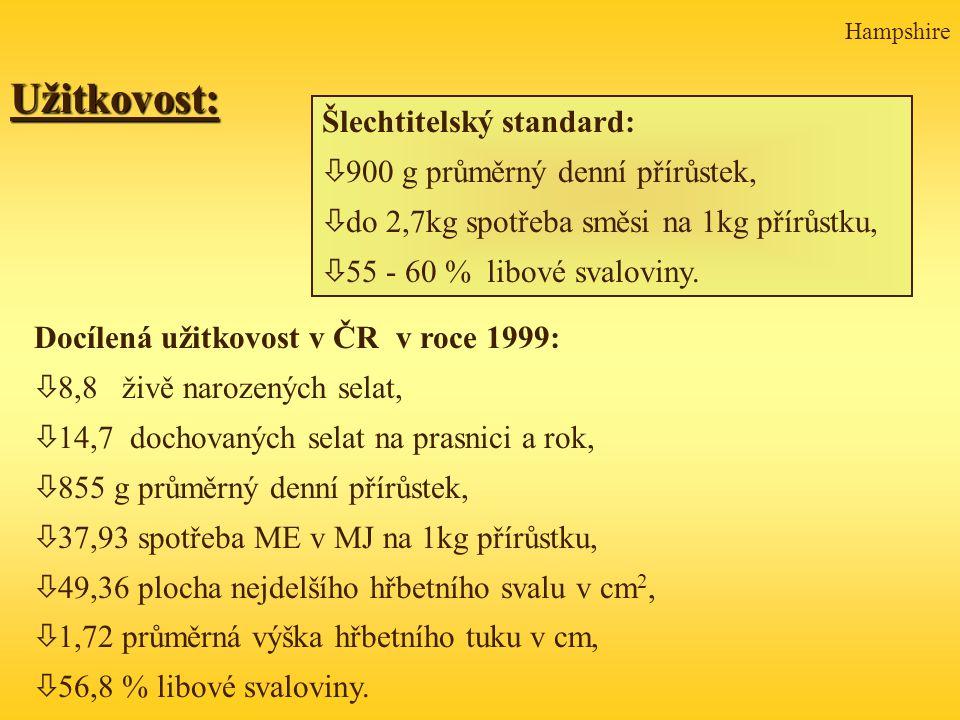 Užitkovost: Šlechtitelský standard: 900 g průměrný denní přírůstek,