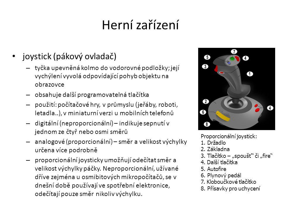 Herní zařízení joystick (pákový ovladač)