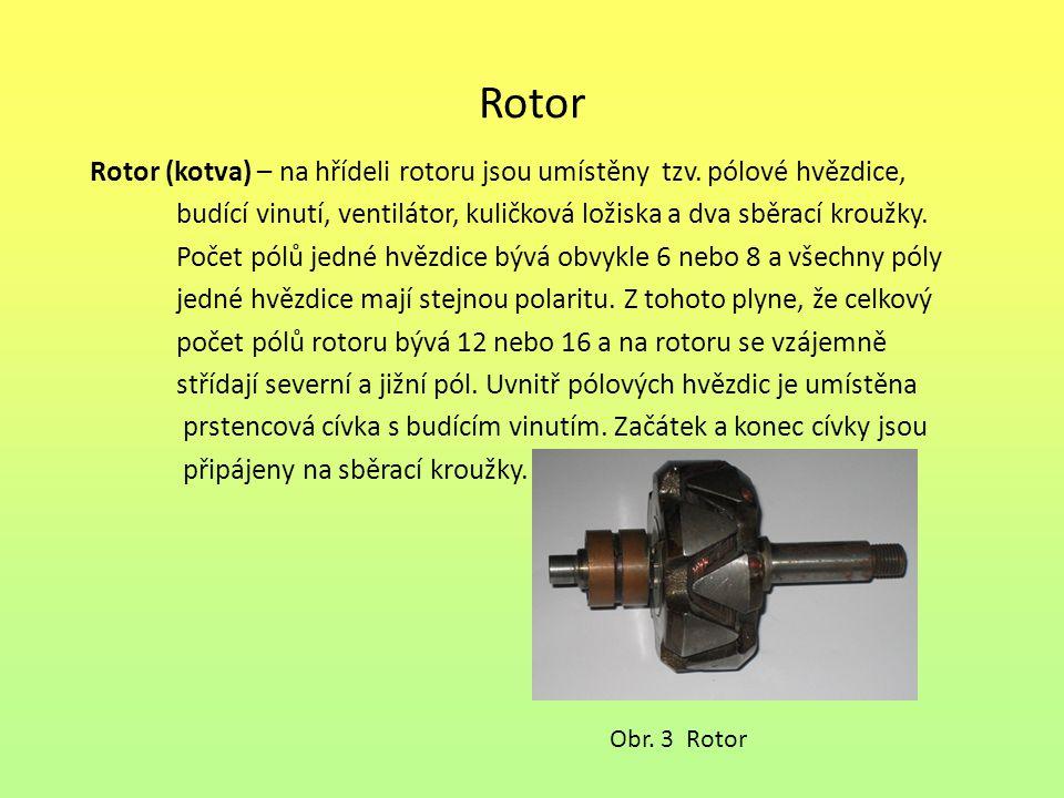 Rotor Rotor (kotva) – na hřídeli rotoru jsou umístěny tzv. pólové hvězdice, budící vinutí, ventilátor, kuličková ložiska a dva sběrací kroužky.