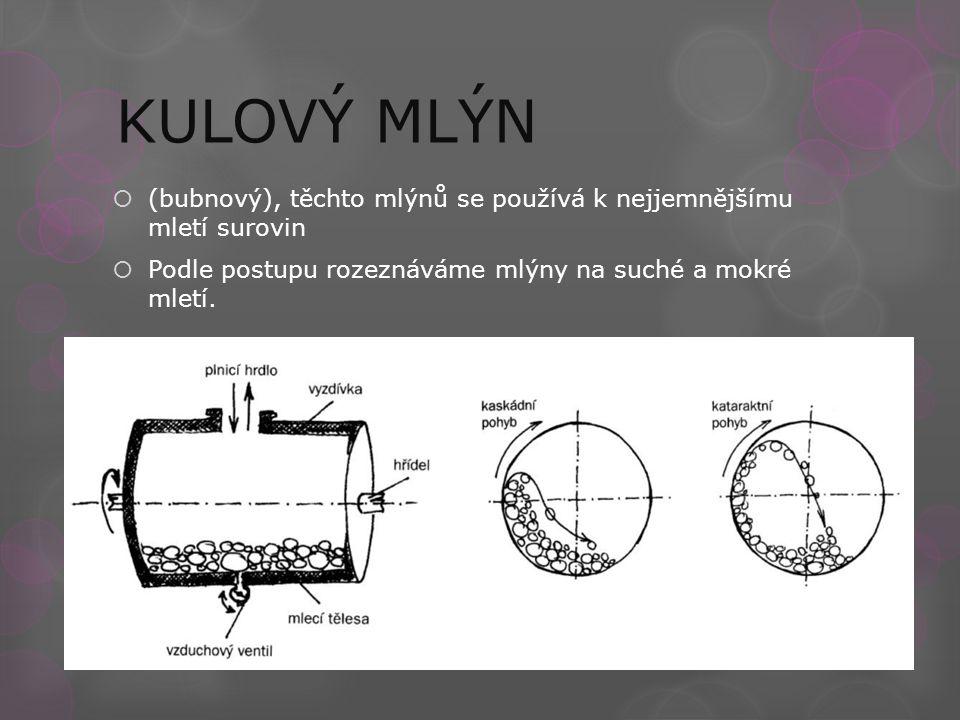 (bubnový), těchto mlýnů se používá k nejjemnějšímu mletí surovin