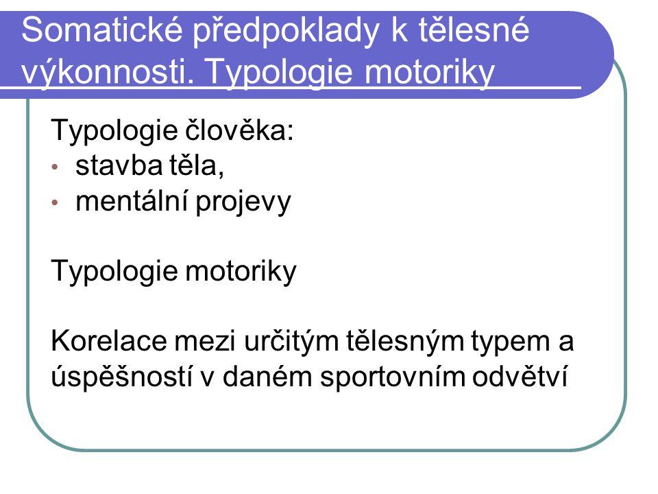 Somatické předpoklady k tělesné výkonnosti. Typologie motoriky