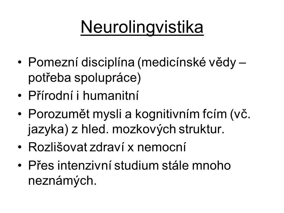 Neurolingvistika Pomezní disciplína (medicínské vědy – potřeba spolupráce) Přírodní i humanitní.