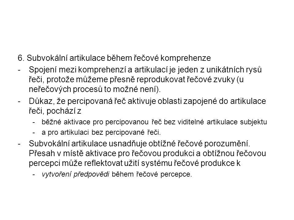 6. Subvokální artikulace během řečové komprehenze