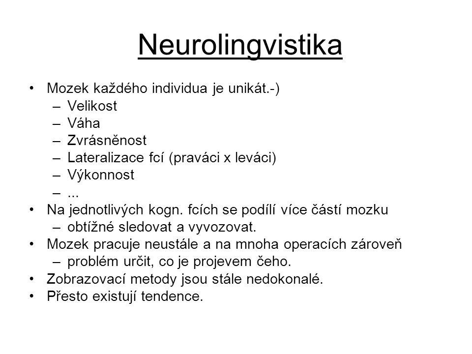 Neurolingvistika Mozek každého individua je unikát.-) Velikost Váha