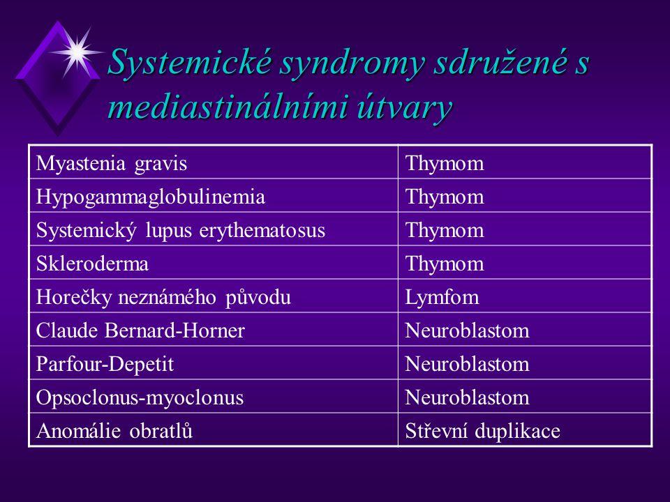 Systemické syndromy sdružené s mediastinálními útvary