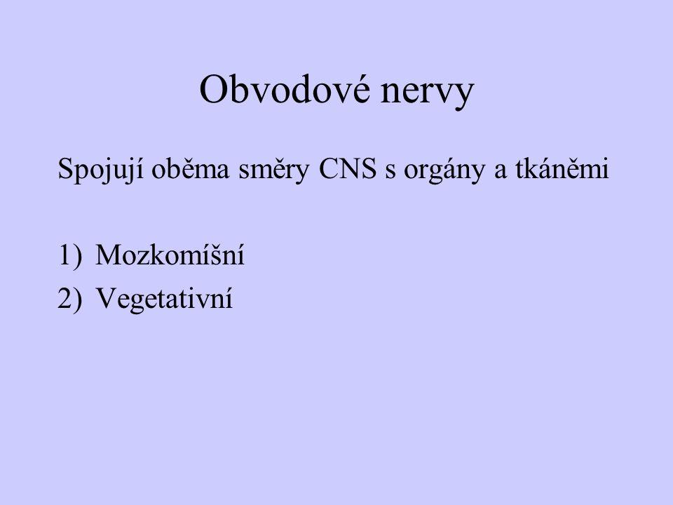 Obvodové nervy Spojují oběma směry CNS s orgány a tkáněmi Mozkomíšní