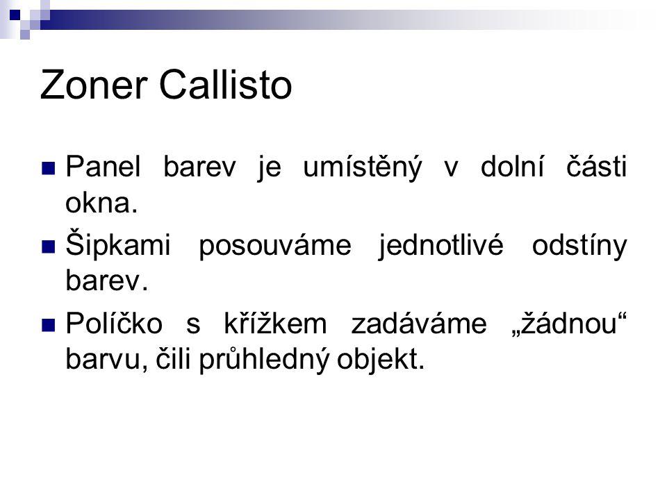Zoner Callisto Panel barev je umístěný v dolní části okna.