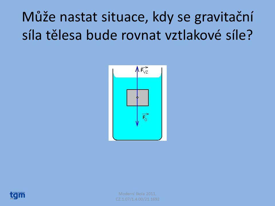 Může nastat situace, kdy se gravitační síla tělesa bude rovnat vztlakové síle