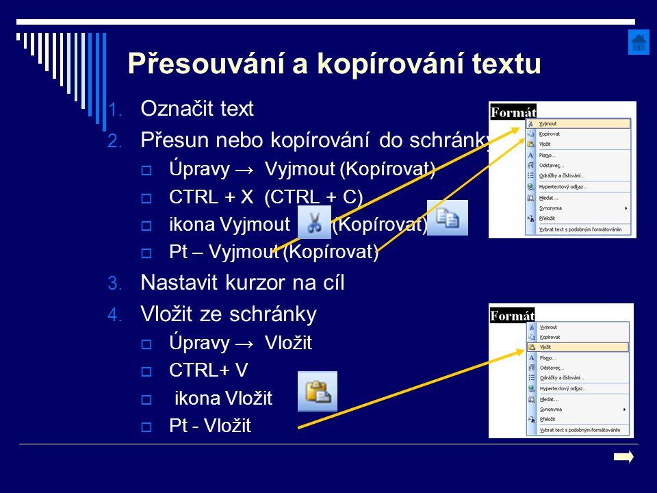 Přesouvání a kopírování textu