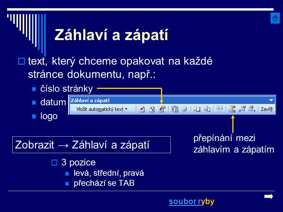 Záhlaví a zápatí text, který chceme opakovat na každé stránce dokumentu, např.: číslo stránky. datum.