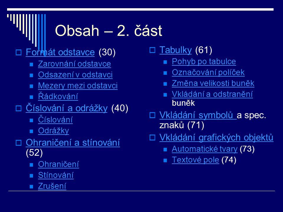 Obsah – 2. část Tabulky (61) Formát odstavce (30)