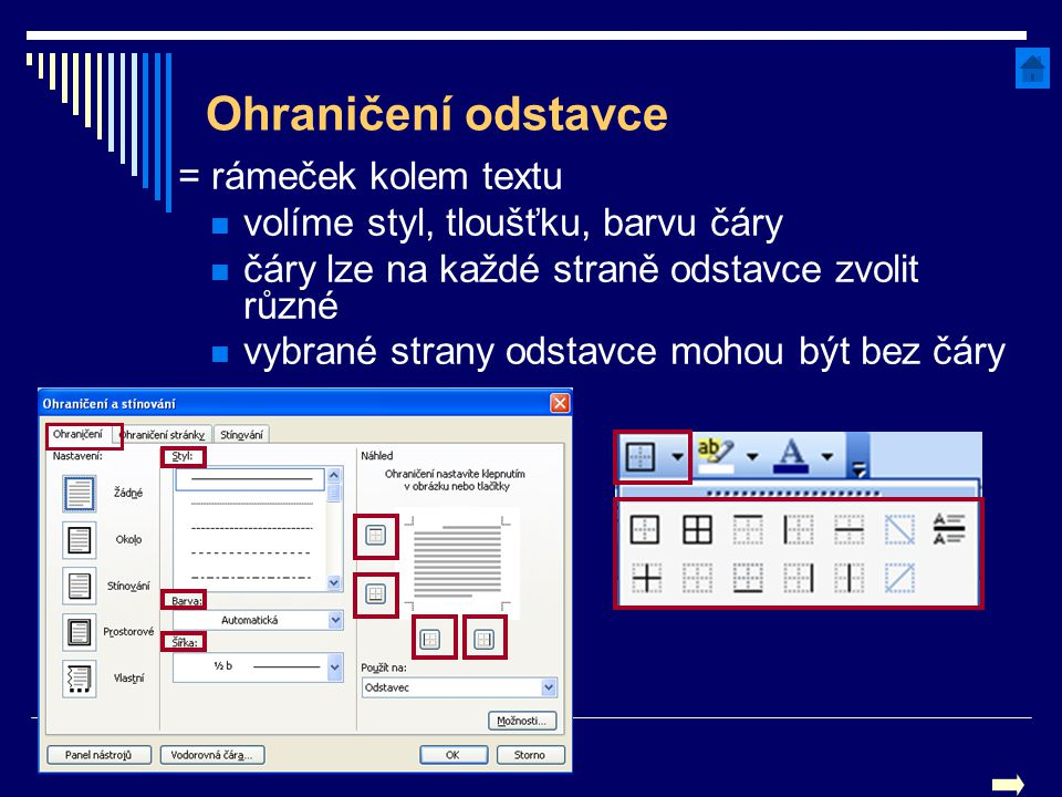 Ohraničení odstavce = rámeček kolem textu