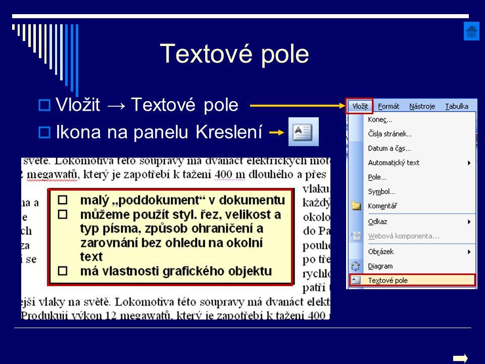 Textové pole Vložit → Textové pole Ikona na panelu Kreslení