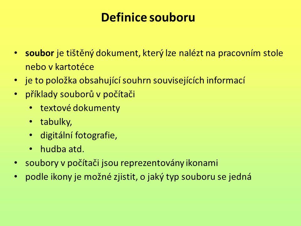 Definice souboru soubor je tištěný dokument, který lze nalézt na pracovním stole nebo v kartotéce.