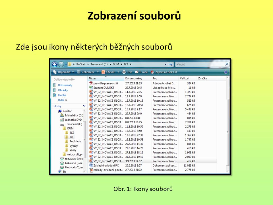 Zobrazení souborů Zde jsou ikony některých běžných souborů