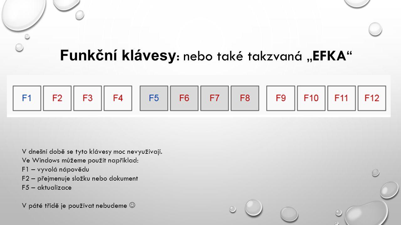 """Funkční klávesy: nebo také takzvaná """"EFKA"""