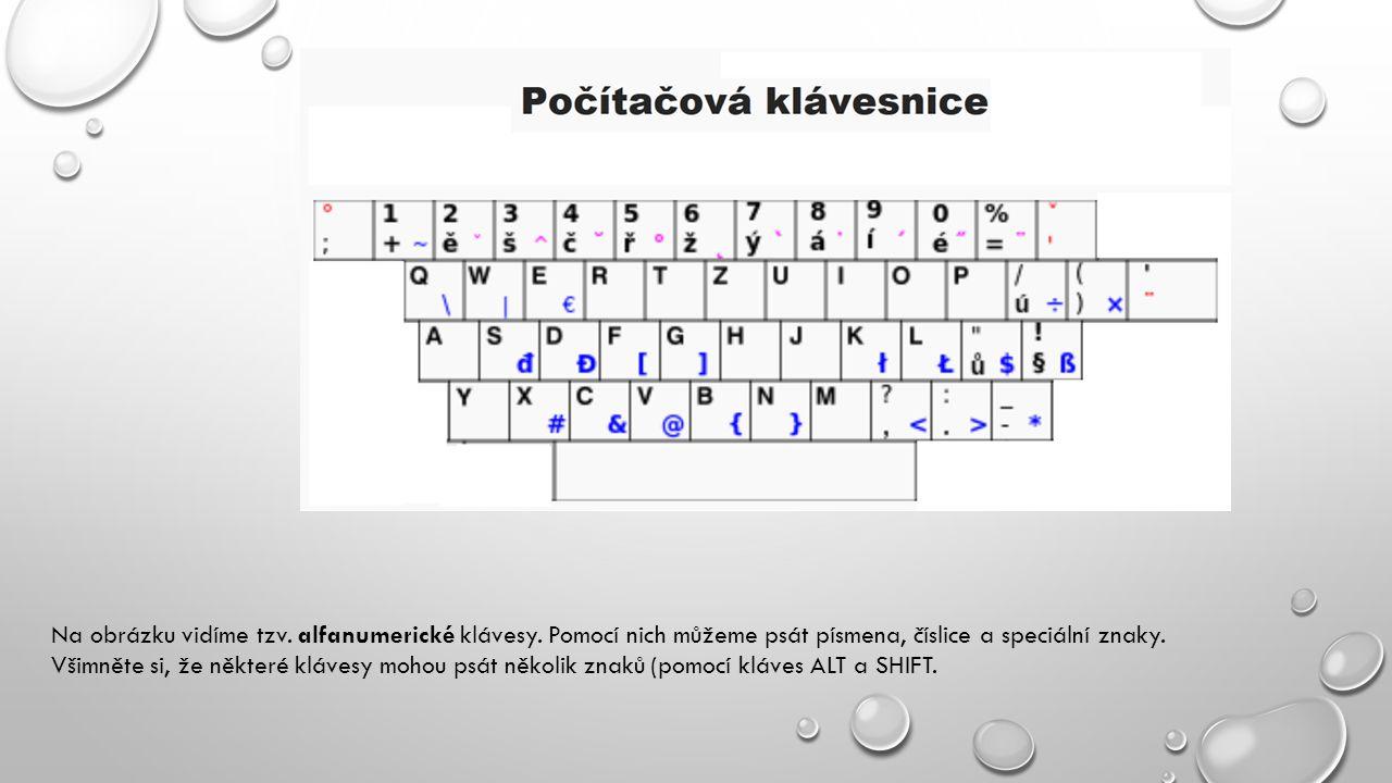 Na obrázku vidíme tzv. alfanumerické klávesy