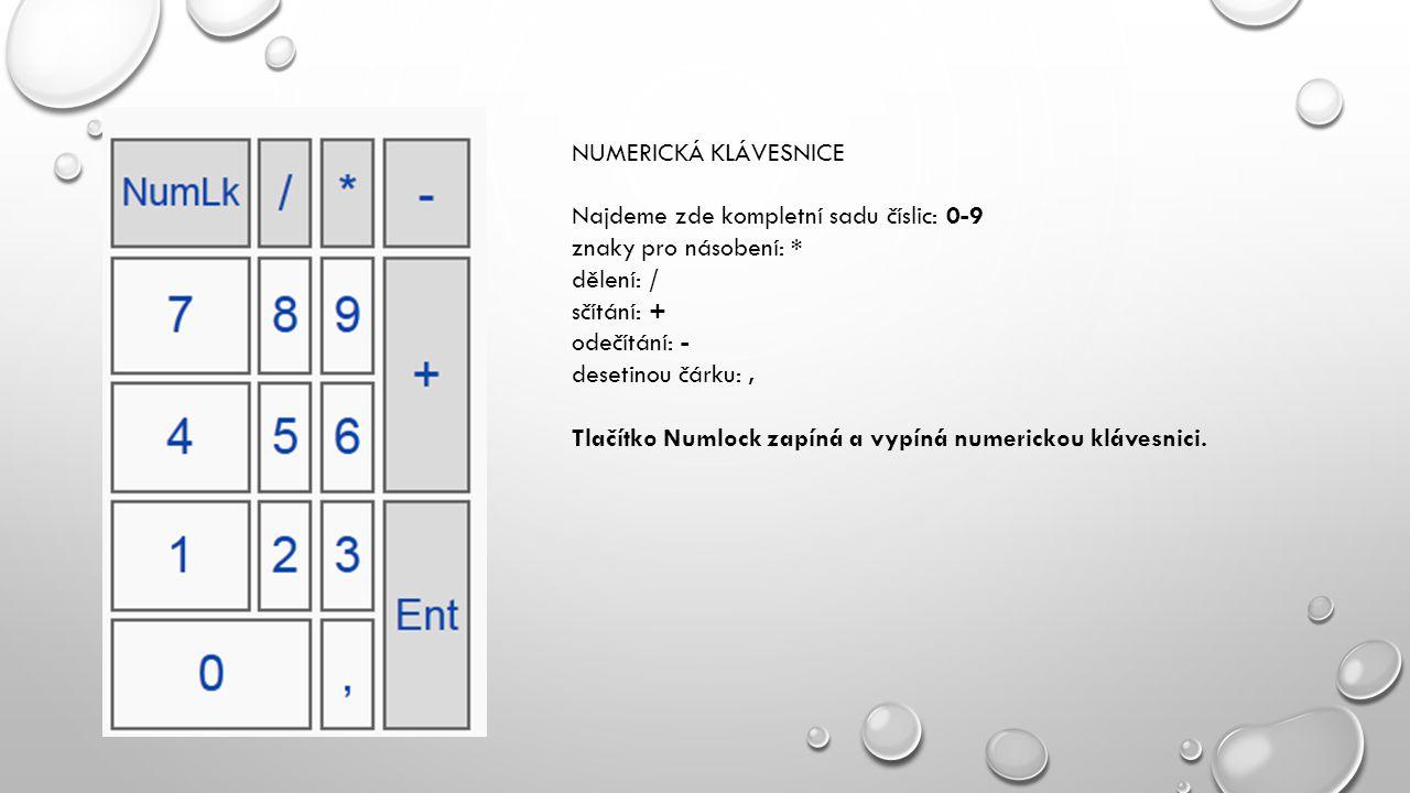 NUMERICKÁ KLÁVESNICE Najdeme zde kompletní sadu číslic: 0-9. znaky pro násobení: * dělení: / sčítání: +