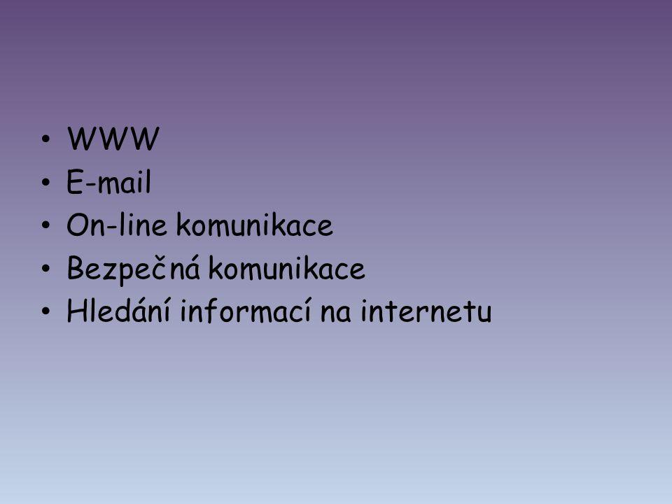 WWW E-mail On-line komunikace Bezpečná komunikace Hledání informací na internetu