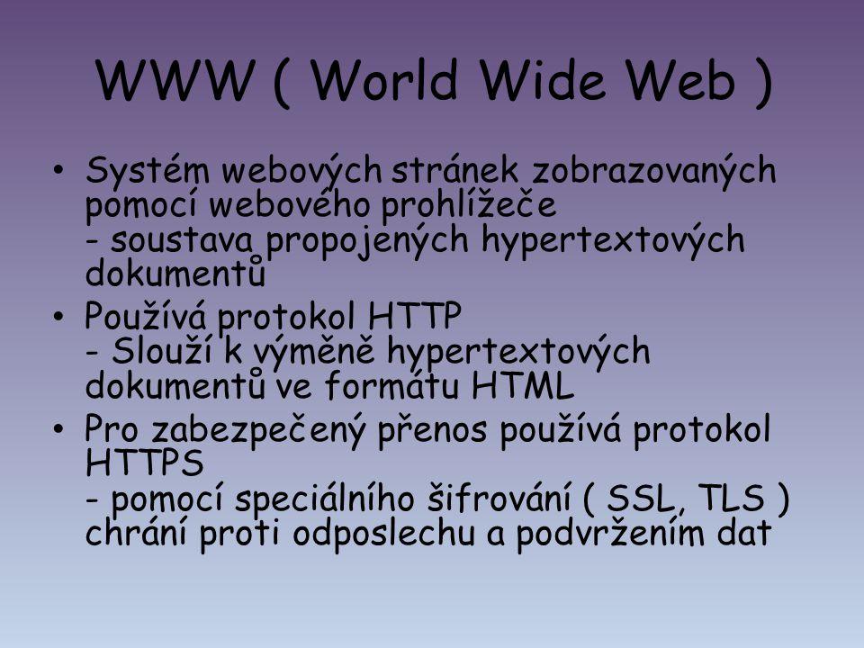 WWW ( World Wide Web ) Systém webových stránek zobrazovaných pomocí webového prohlížeče - soustava propojených hypertextových dokumentů.