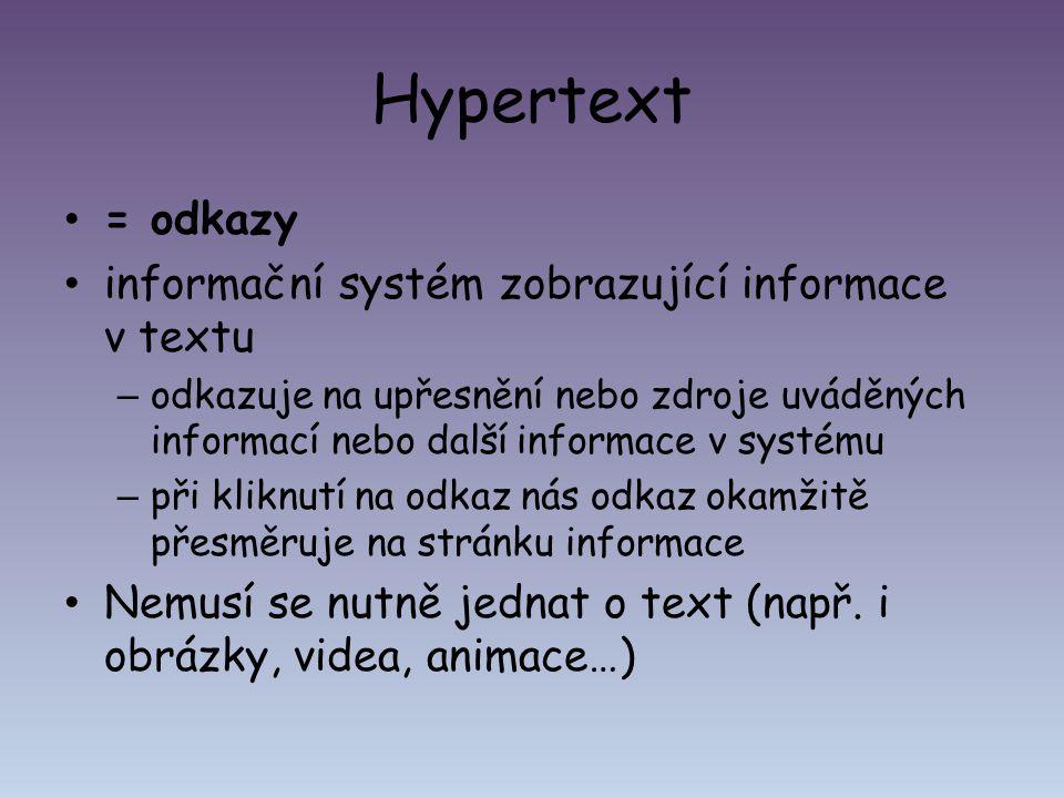 Hypertext = odkazy informační systém zobrazující informace v textu