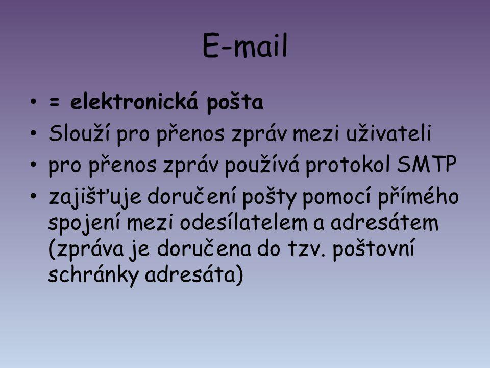 E-mail = elektronická pošta Slouží pro přenos zpráv mezi uživateli