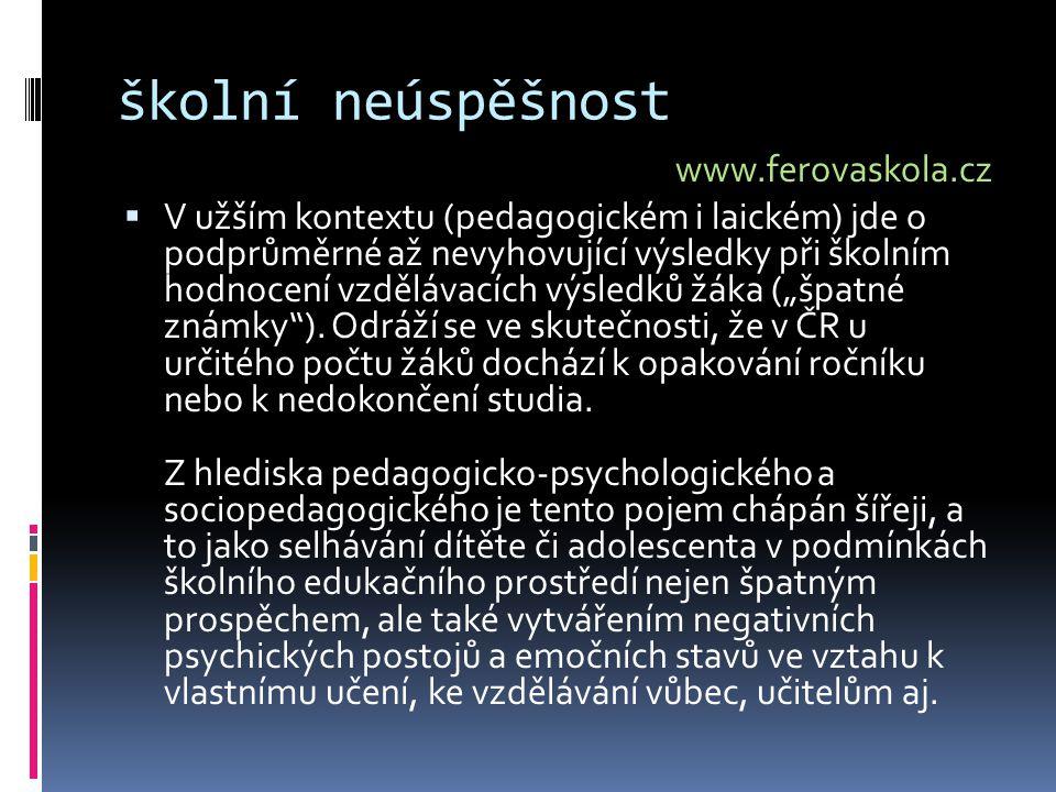 školní neúspěšnost www.ferovaskola.cz
