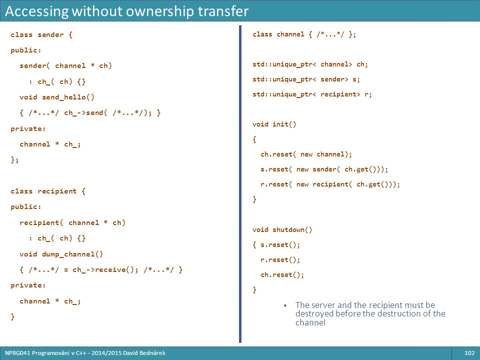 Accessing without ownership transfer