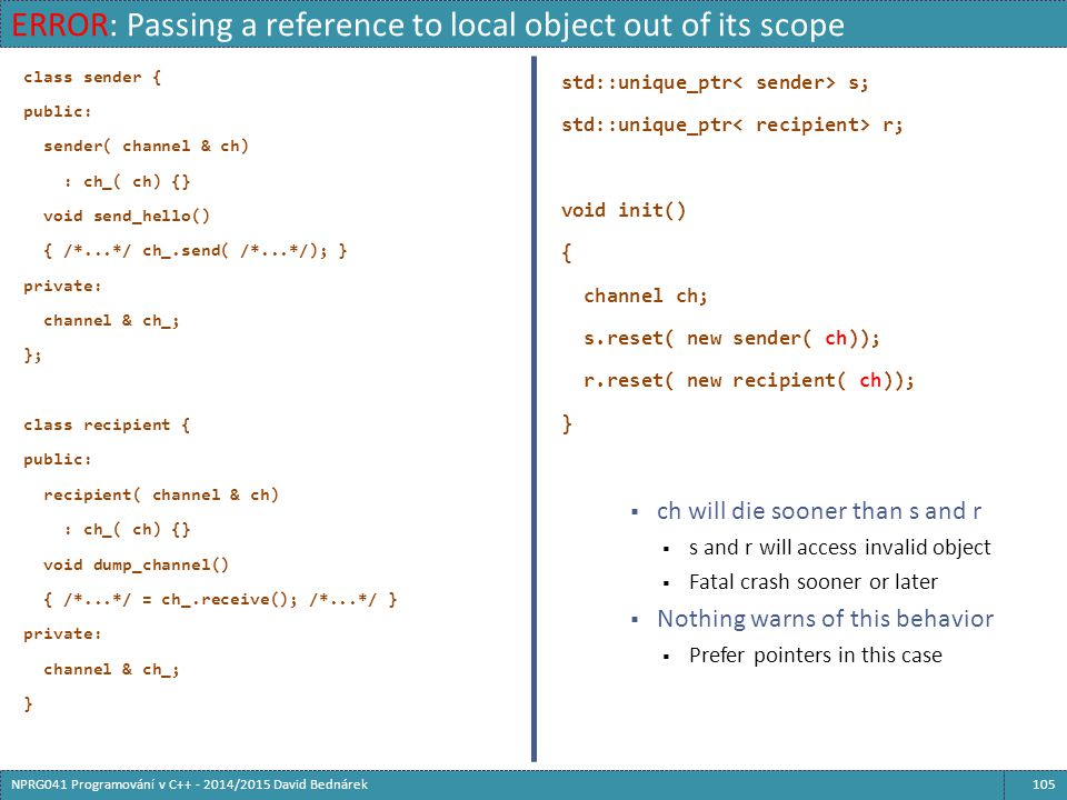 ERROR: Passing a reference to local object out of its scope