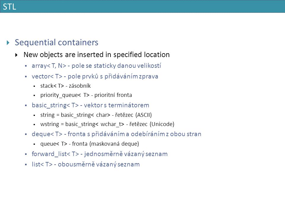 Sequential containers
