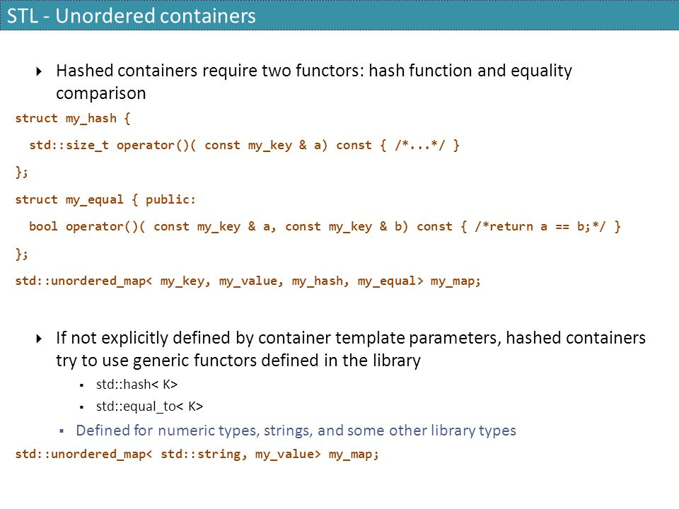 STL - Unordered containers