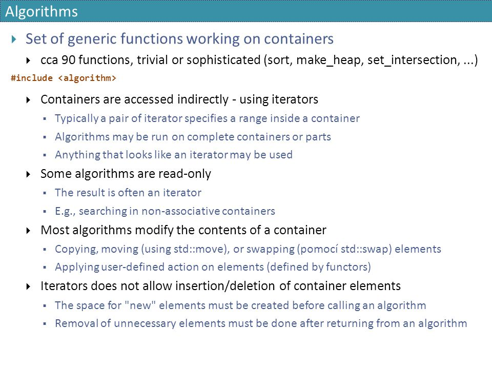 Set of generic functions working on containers