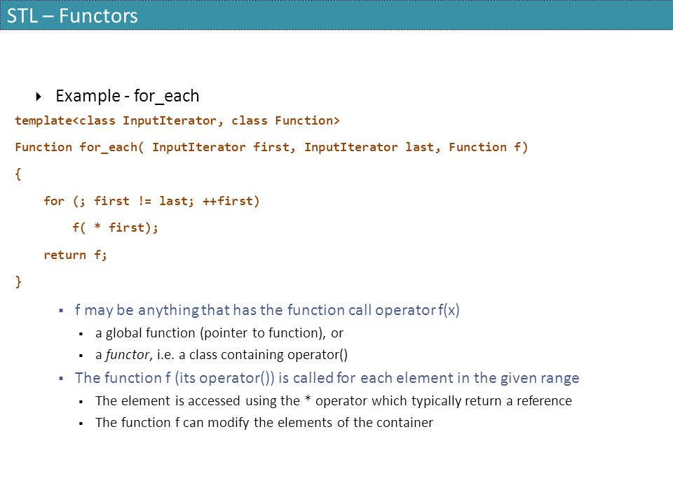 STL – Functors Example - for_each