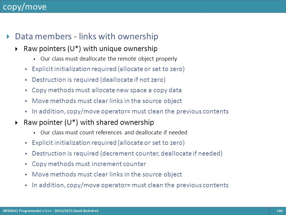 Data members - links with ownership