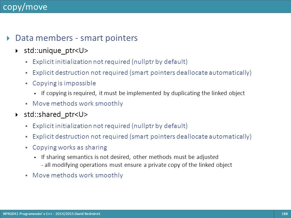 Data members - smart pointers