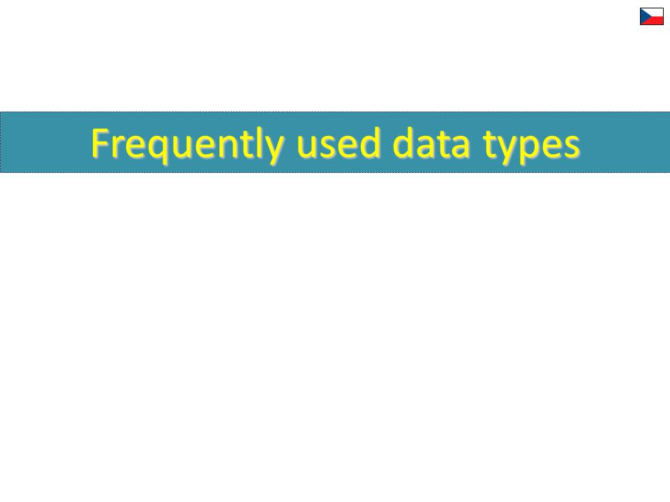 Frequently used data types